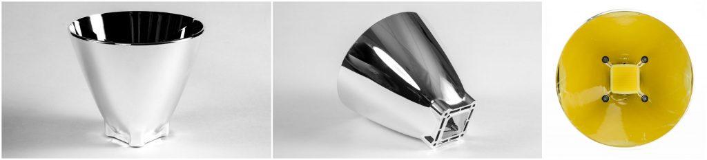 parabolic reflector for throw flashlight